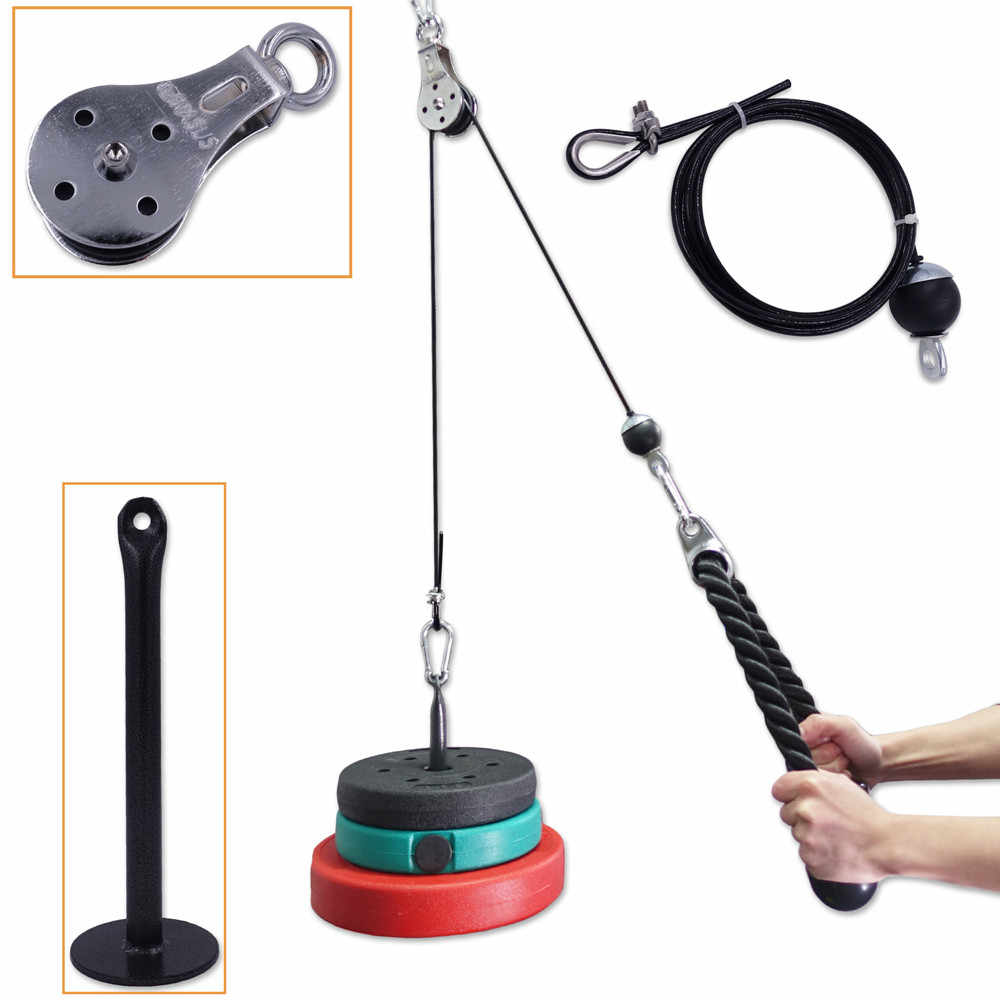 Swivel Pulley Block DIY Spin Pulleys Gym Fitness Lifting Rope Cables Loading