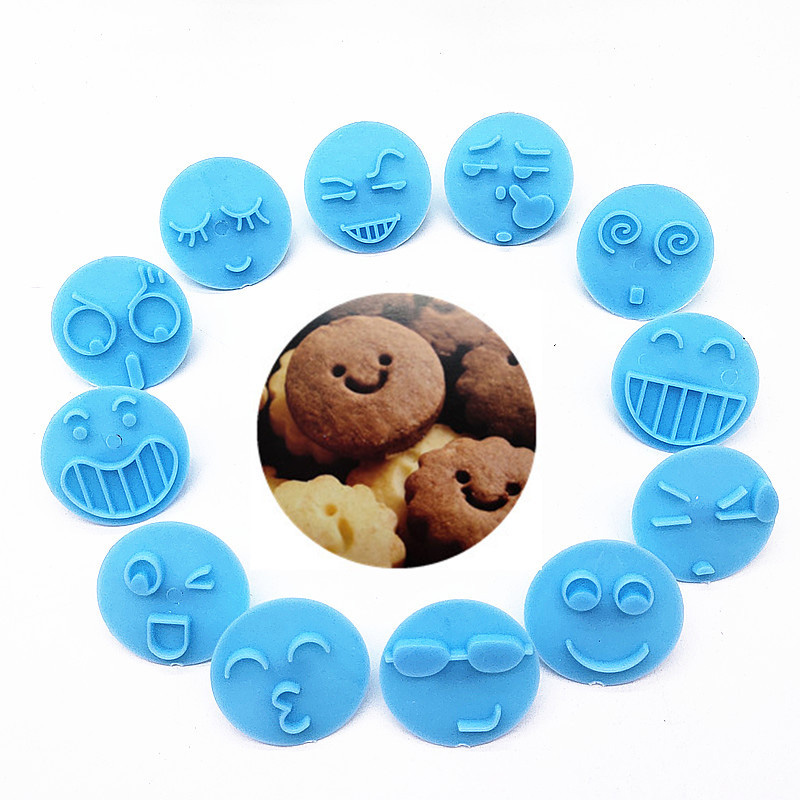 Smiling Face 13Pcs Embossing Mould Fondant Biscuits Mold Plastic Cake Decorating Tools Cookie Cutters Set Baking Accessories