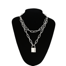 Double layer Lock Chain necklace punk 90s link chain silver color padlock pendan