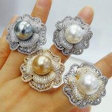 GODKI 2021 Trendy Flower Pearl Statement Rings for Women Cubic Zircon Finger Rings Beads