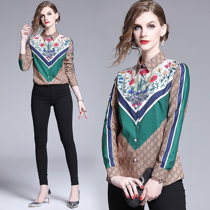 Photo Shoot Fashion WOMEN'S Dress Europe And America Versitile Fashion Waist Hugging Slimming Positioning Printed Shirt