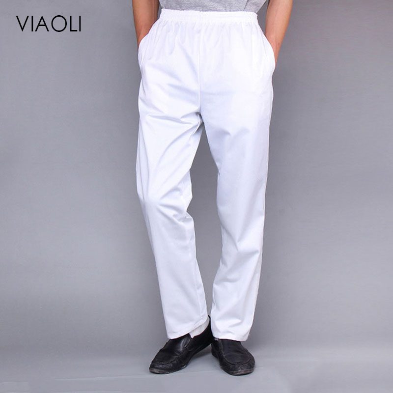 Chef Trousers Food Service White Solid Pants Elastic Peppers Restaurant Kitchen Pants Bakery Stretch Work Wear Uniform Cook