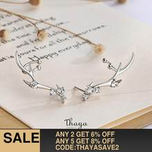 Thaya Silver 925 Jewelry Diamond-studded Zircon Earrings Deer Crown Style Earring For Women Engagement Fine Jewelry(China)