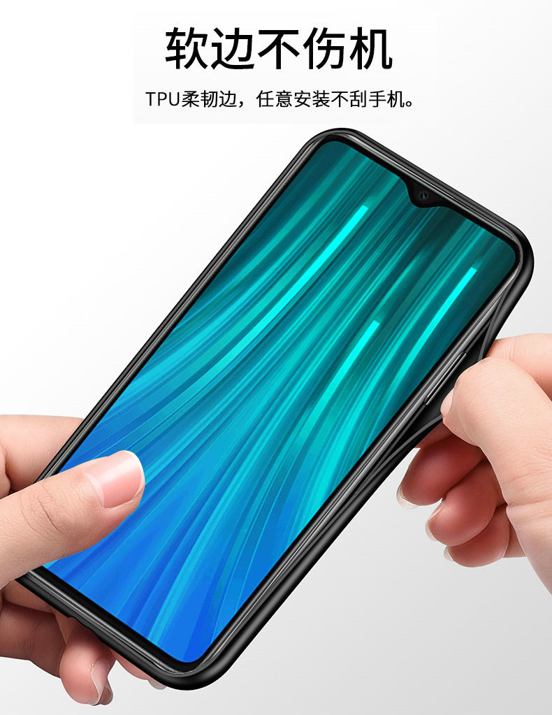 Soft Frame Standing Case With Tempered Glass Magnet Ring Holder for Xiaomi Redmi Note 8 Pro 4