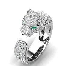 Lüks leopar kafa yeşil gözler zirkon yüzük alyans kadın mikro kakma zirkon yüzük takı nişan yüzüğü bijoux hediye