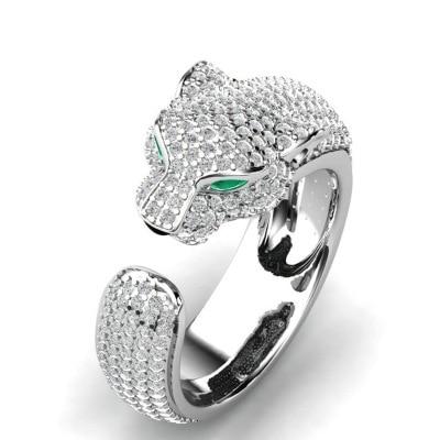 Luxury Leopard Head Green eyes Zircon Ring Wedding Ring for Women Micro-inlaid Zircon Ring Jewelry Engagement Ring bijoux Gift