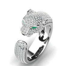 Luxus Leopard Kopf Grün augen Zirkon Ring Hochzeit Ring für Frauen Micro-intarsien Zirkon Ring Schmuck Engagement Ring bijoux geschenk