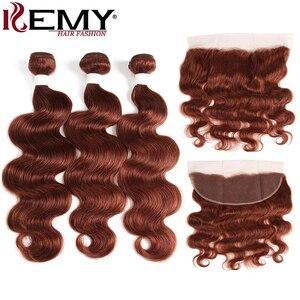 Image 4 - ברזילאי שיער טבעי חבילות עם פרונטאלית 13*4 ערמוני חום גוף גל שאינו רמי 100% שיער טבעי וויבס צרור עם סגירה