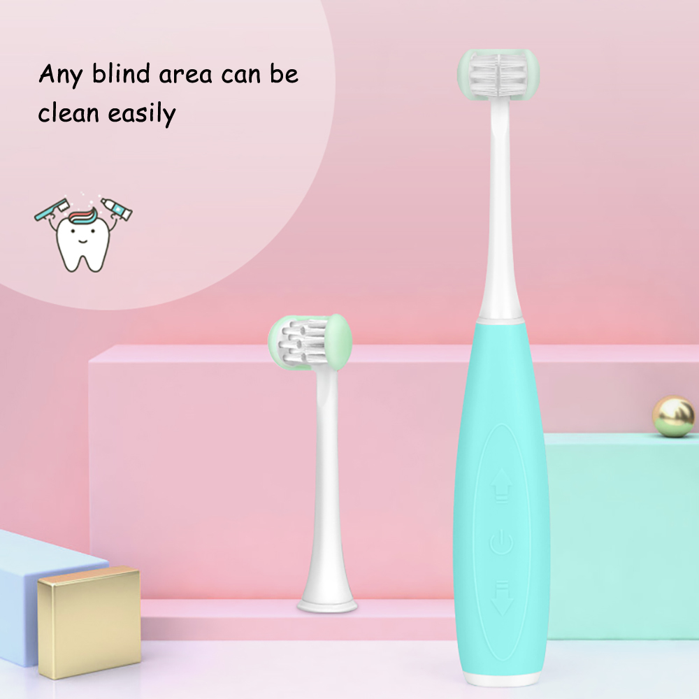 New 3 Side Children Sonic Electric Toothbrush 5 Modes USB Intelligent Acoustic Teeth Tooth Brush Cartoon Pattern for Kids 2 Head