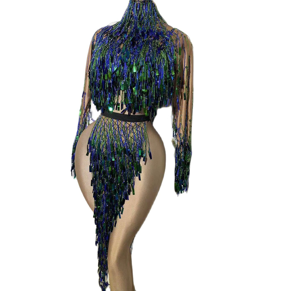 Sparkly Sequined Tassel Backless Tops &Skirt High Split Long Women Skirt Nightclub Outfit DJ Singer Dance Performance Stage Wear