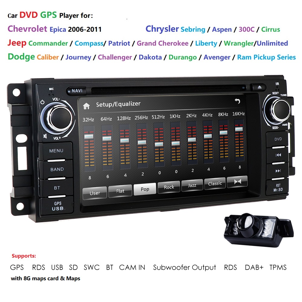 Car Monitor DVD Player For Wrangler Compass <font><b>Grand</b></font> <font><b>Cherokee</b></font> <font><b>2008</b></font>-2011 With GPS Navigation Multimedia radio steering wheel BT DVR image