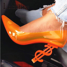 Party-Shoes Heel Sexy Pointed-Toe Nightclub Strange Fashion PVC Hot-Selling INS