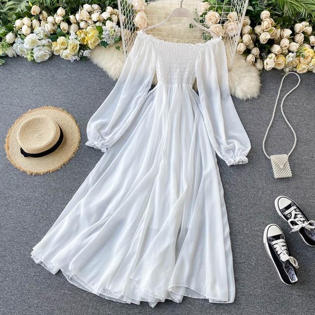 Off Shoulder Chiffon Fairy Style Dress 1