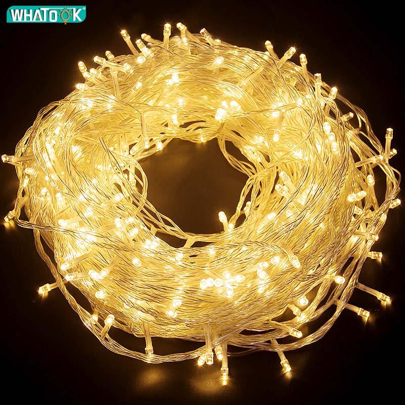 10 м, 30 м, 50 м, светодиодный Сказочный свет, Рождественская елка, свадебное украшение, водонепроницаемые гирлянды, занавес, освещение для поме...