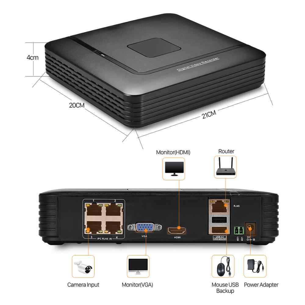 BESDER 4CH PoE NVR H.265 5MP نشط 48 فولت PoE مسجل فيديو NVR ONVIF 4 قنوات الأمن NVR DVR