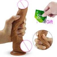 HWOK Haut Realistische Penis Super Riesige Großen Dildo Silikon Flexible Mit Saugnapf Künstliche Penis Weibliche Masturbator Sex Spielzeug