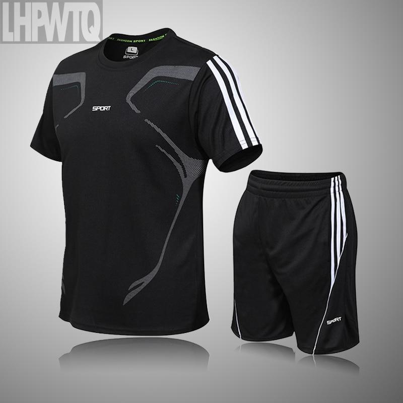 Brand Men's Sportswear Kit Short Sleeve Sports Sport Shirt Men Running 2pcs Suit For Soccer Gym Fitness Men T-Shirts+Shorts Sets 3