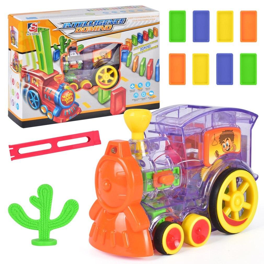 Электрический поезд домино модель автомобиля со звуком светильник музыка домино блоки наборы волшебный автоматический набор красочные игры игрушки - Цвет: Прозрачный