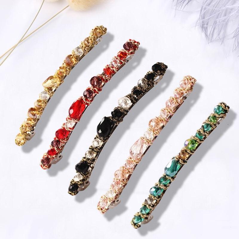 1PC Fashion Women Retro Colorful Crystal Tiara Hair Accessories Hairpin Crystal Side Clip Female Rinestone Hair Clips Headwear