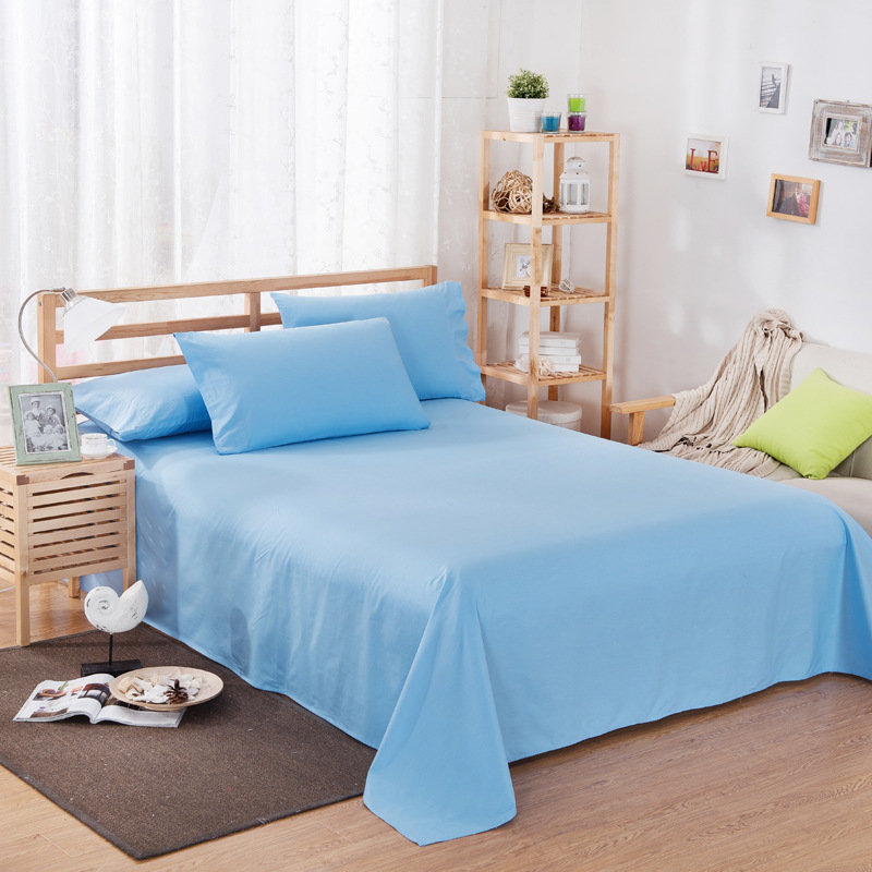 ropa de cama Solid color polyester cotton bed sheet hotel home soft brushed flat sheet queen bed cover not included pillowcase 11