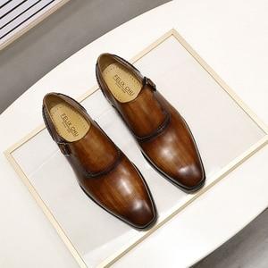 Image 2 - FELIX CHU Men Dress Shoes Plain Toe Genuine Leather Brown Hand Painted Buckle Monk Strap Business Office Mens Formal Suit Shoes