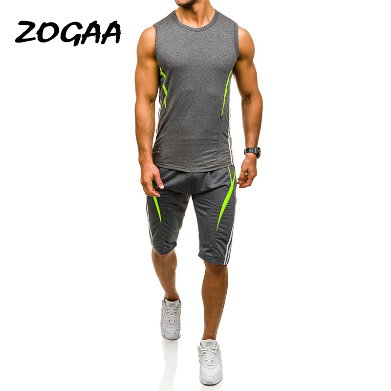 Zogga 2019 New Brand Men Sets Cotton Top Tank+ Elastic Waist Shorts Summer Casual Sets Boy Skate Tracksuit Gyms Fitness Sets
