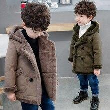 Новинка года; куртки с капюшоном для мальчиков; сезон осень-зима детское двубортное пальто ветровки для маленьких мальчиков; плотная теплая уличная одежда с искусственным мехом; S07