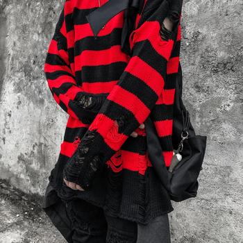 Black Red Striped Hole Knit Sweaters Autumn Winter Sweater Fashion Loose Long Paragraph Oversized Men Women All-match Clothing 5