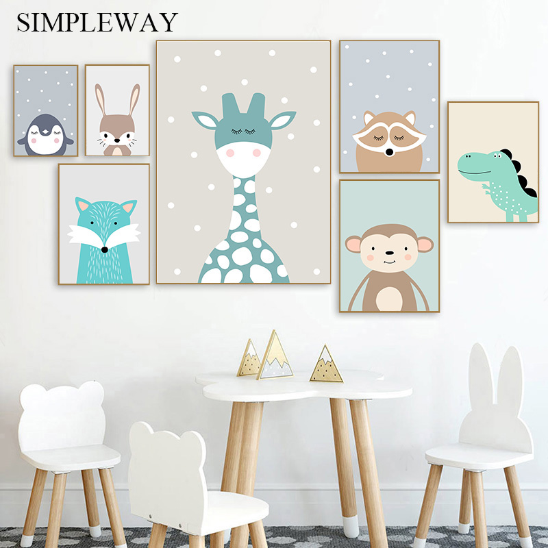 Cute Cartoon Baby Animal Penguin Monkey Nursery Poster Canvas Art Print Wall Painting Nordic Kids Child Room Decoration Picture