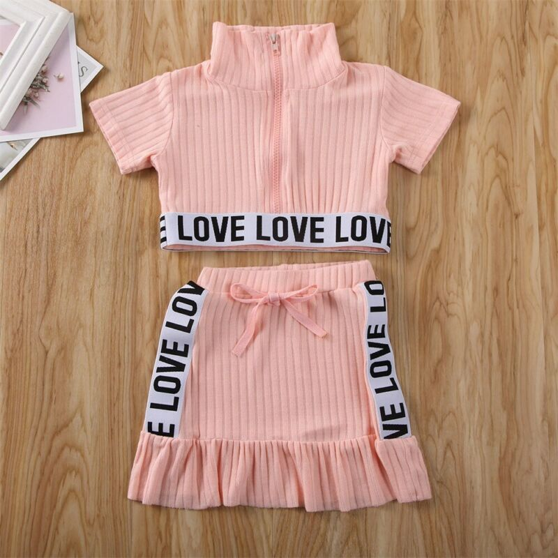 CANIS Summer Toddler Kids Baby Girls Short Sleeve Letter Patchwork Tops T-shirt Skirts Outfits Clothes Tracksuit 2PCS