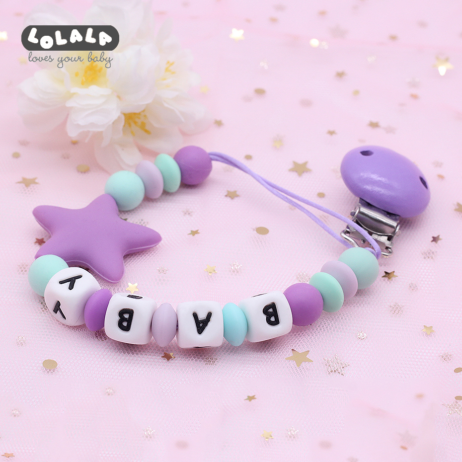 DIY Silicone Baby Pacifier Clip Personalized Name Color Pacifier Chain Baby Tooth Pacifier Chewing Toy Dummy Clip Baby Gift