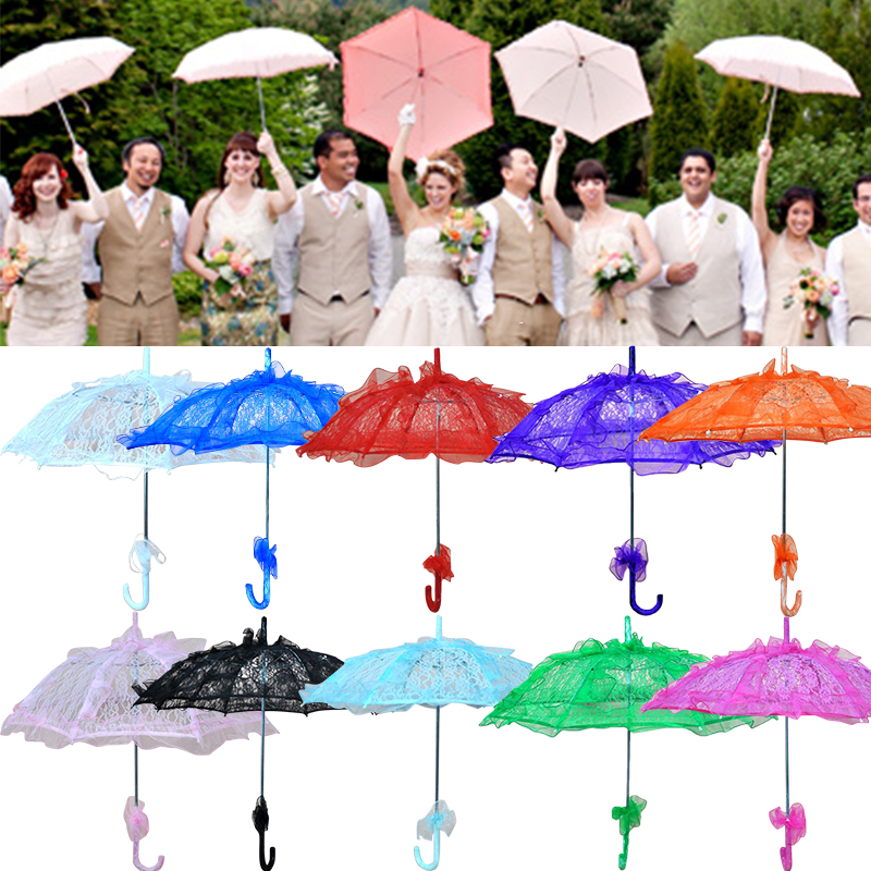 Colorful Wedding Bridal Umbrella Old Western Romantic Elegant Manual Opening Fleur Parasol Ruffles Decor Lace Umbrella Gift D30