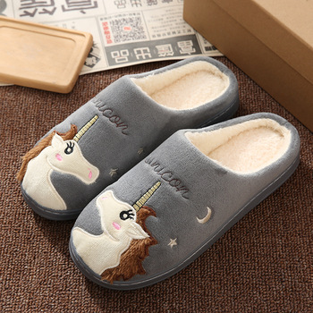 Cute Unicorn Women Winter Home Slippers Cartoon Embroidery Soft Warm House Shoes Men Women Boys Girls Indoor Bedroom Slippers 4