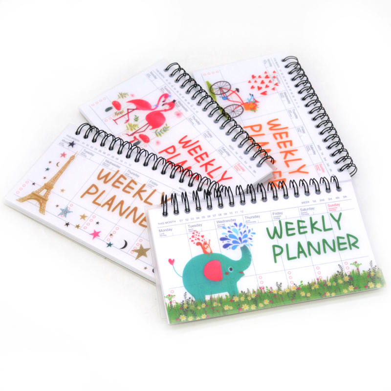 Weekly Planner Notebook Planner Agenda 2020 Cute Journal Stationery Cuadernos Y Libretas Libreta Flamingo Paris Ball Pen Penna