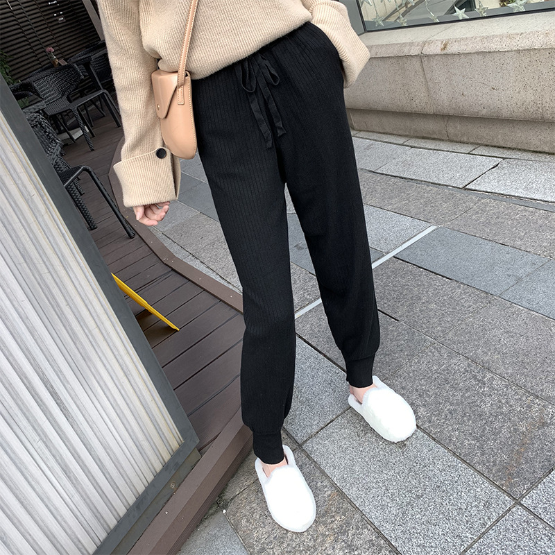 Autumn And Winter Knit Harem   Pants   Women's 2019 New Style Korean-style Casual Ankle Banded   Pants   Lace-up Elastic   Capri     Pants   Sub