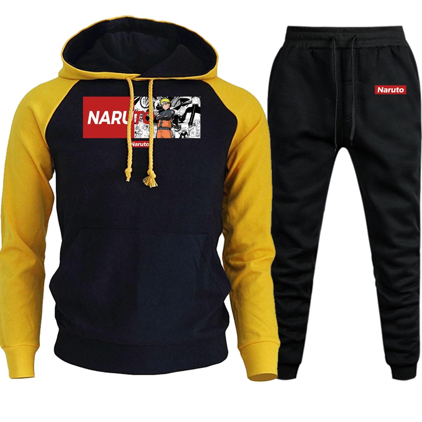 Naruto Streetwear Mens Hooded 2019 Autumn Winter Cartoon Pullover Suit Fleece Hoodie Raglan Fashion Sweatshirt+Pants 2 Piece Set