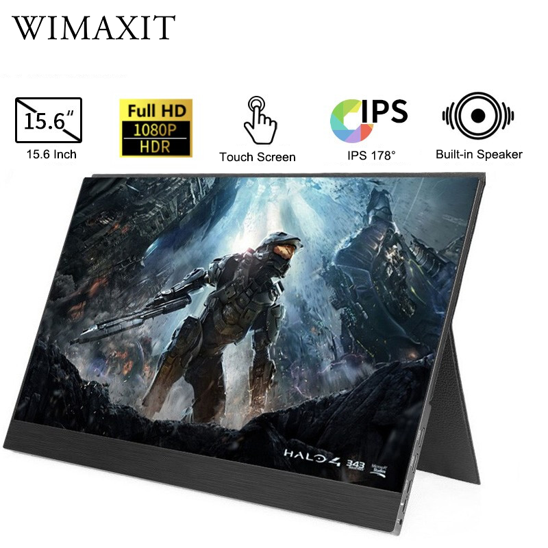 WIMAXIT 15.6 Inch Type-C/USB C Portable Gaming Monitor Touch Screen Ultra-slim 1080p Display