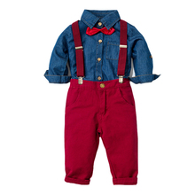 男の子服デニムシャツ + 赤ズボン少年シャツスーツ長袖キッズ 4 個スーツ子供秋と春ベースセット