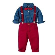 Vestiti Dei Ragazzi Camicia di Jeans + Pantaloni Rossi Ragazzo Camicette Vestito a Maniche Lunghe per Bambini di Quattro Pezzi Vestiti Dei Bambini di Autunno E di Base Della Molla Set