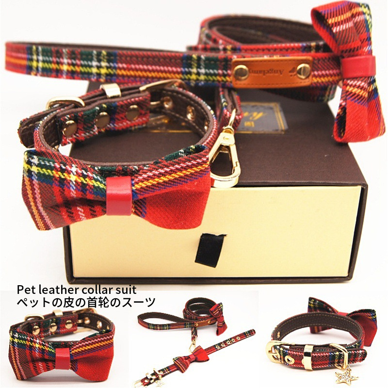 Red Plaid Pet Collar Pet Bow Traction Belt Set Dog Collar Pet Supplies