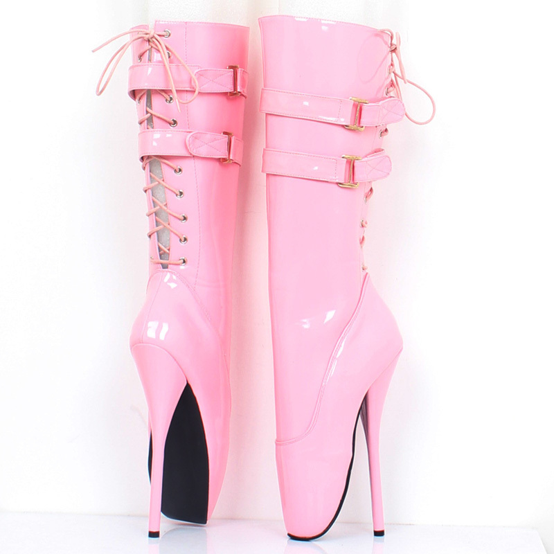 "New 18cm/7"" ultra high heel stilleto heel spike heel red shiny Lace-up women knee high ballet boots sexy fetish boots"