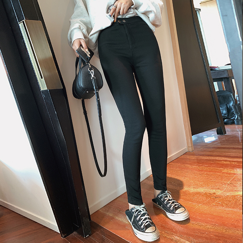 MISHOW Women Spring Summer Basic High Waist Slim Fit Pencil Pants Zipper Black Stretch Pants  MX19D2142