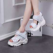 Gladiator Wedge Sandals Platform Shoes for Ladies Summer Wedge Shoes High Heels Platform Black Sandals White Platform Wedges womens ladies wedge sandals strappy high heels pu leather platform summer party shoes woman ankle strap sandal white black