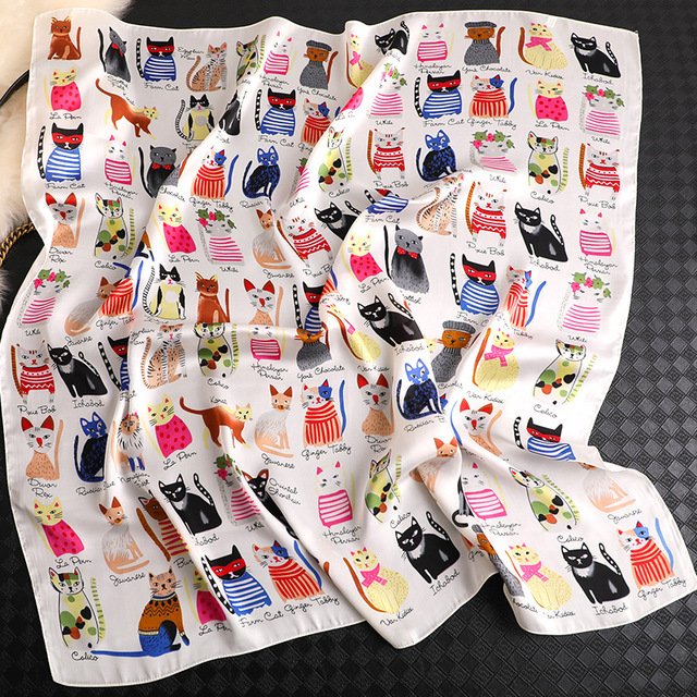 New Women Fashion Square Scarf Cat Print Silk Scarves And Wrap Ladies Retro Spring Summer Office Hair Neck Foulard