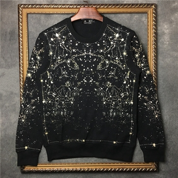 DUYOU new arrival fashion sweatshirt men brand clothing Starry black hoodie sweatshirt male loose cotton DY5647