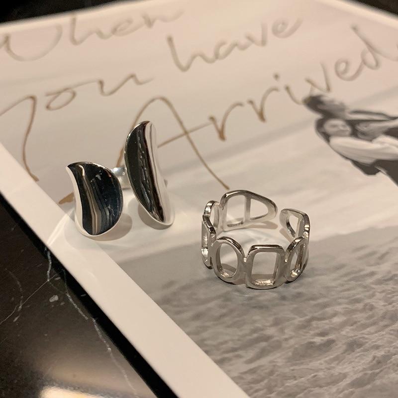 XIYANIKE 925 en argent Sterling brillant creux géométrique anneau rétro Unique conception de mode à la main bijoux Index doigt ouvert anneau 2