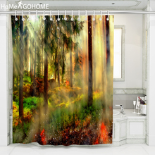3D Bath Curtains Washable Bathroom Waterproof Polyester Fabric Shower Curtain Forest Trees Sunlight Screen with Hooks Large Size