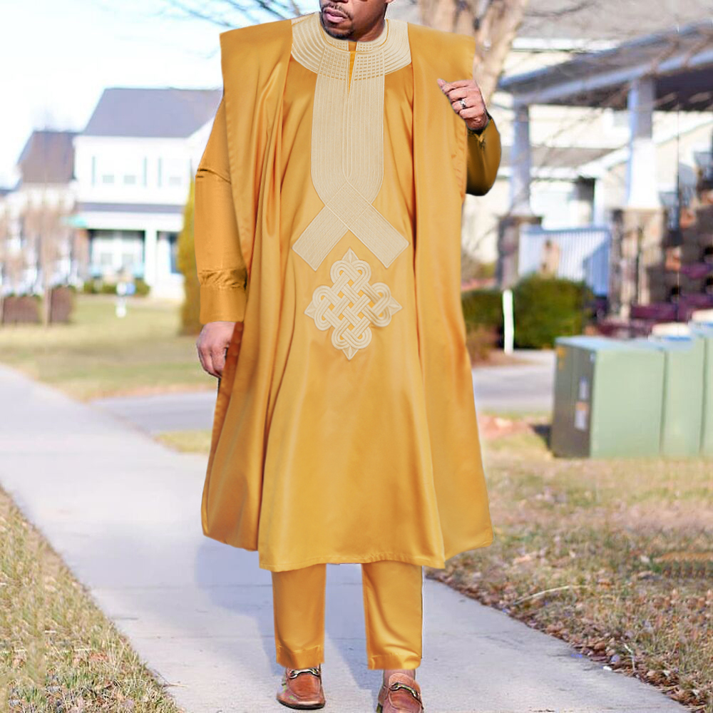 H&D African Men Dashiki White Clothes 3 PCS Agbada Suit Robe Shirt Pants Set Shiny Embroidered Party Attire Boubou Homme PH9096