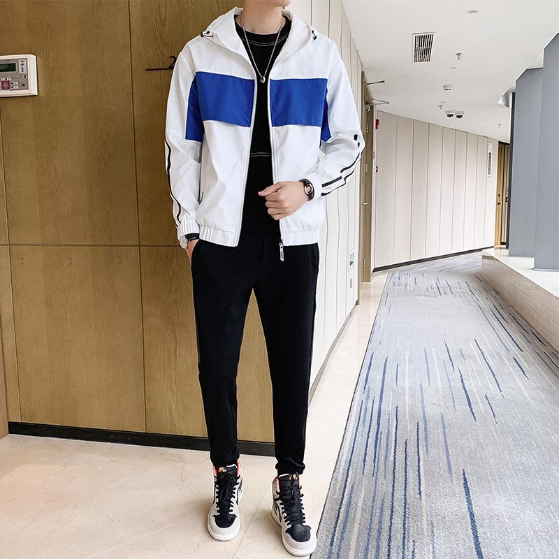 2019 Autumn New Style Men's Leisure Sports Suit Teenager Korean-style Fashion Hooded Jacket Cardigan Coat Fashion