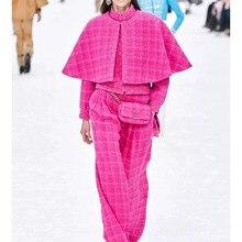 Cosmicchic осень зима подиумный твидовый комплект из двух предметов фиолетовый Ретро мода стоячий воротник длинный рукав куртки плащ короткое пальто